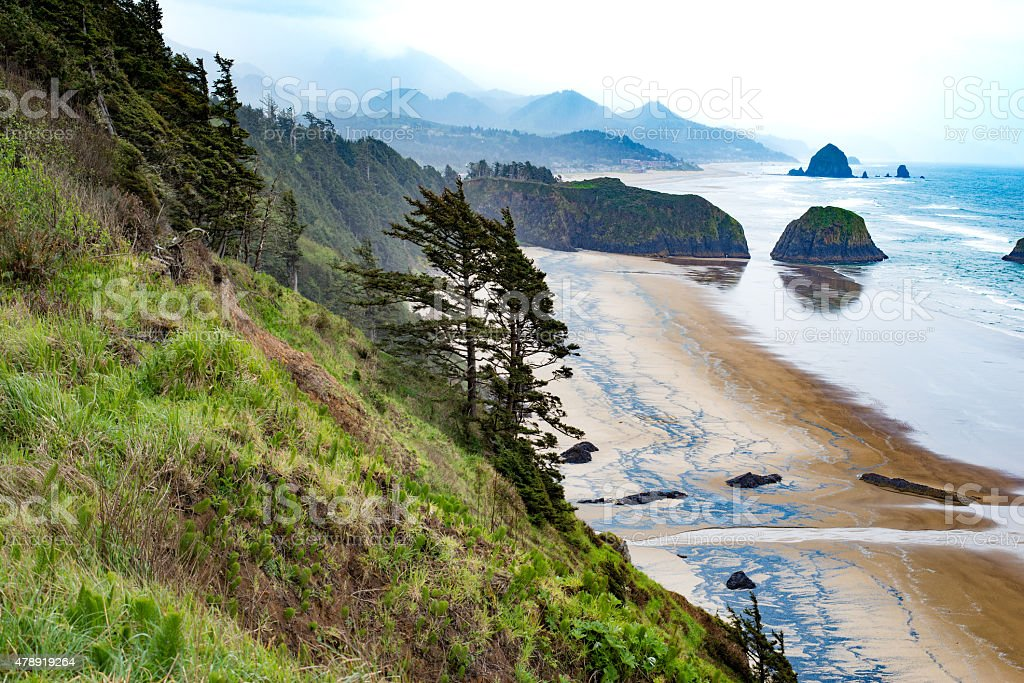 Haystack Rock on Oregon Coast stock photo