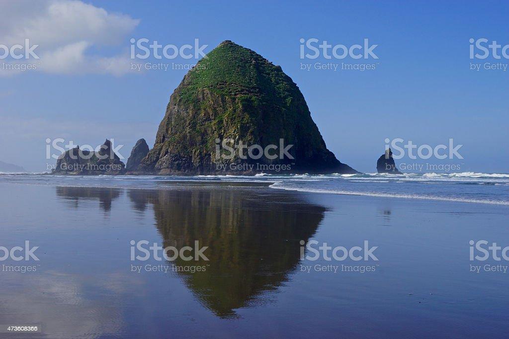 Haystack Rock Reflection stock photo