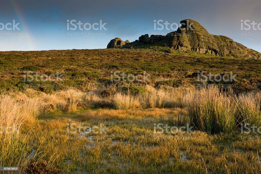 Haytor and boggy pool on Dartmoor stock photo