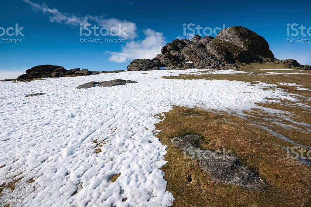 Haytor in the snow on Dartmoor stock photo