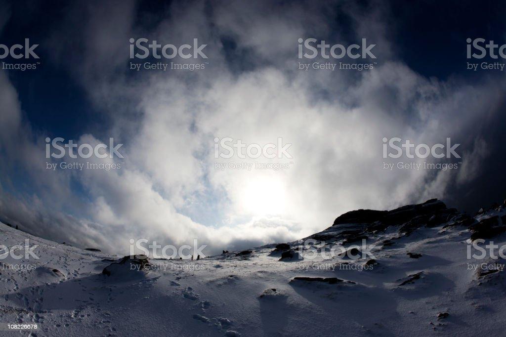 Haytor in the snow stock photo