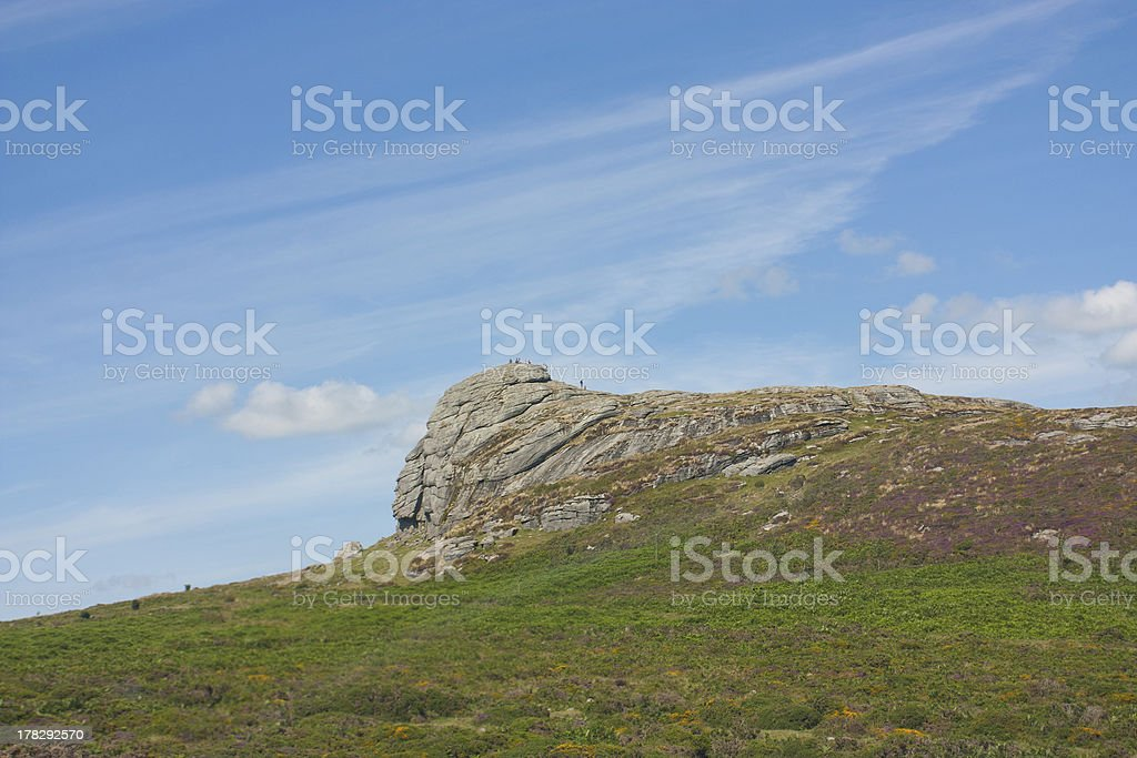 haytor rock in devon, uk tourist attraction stock photo