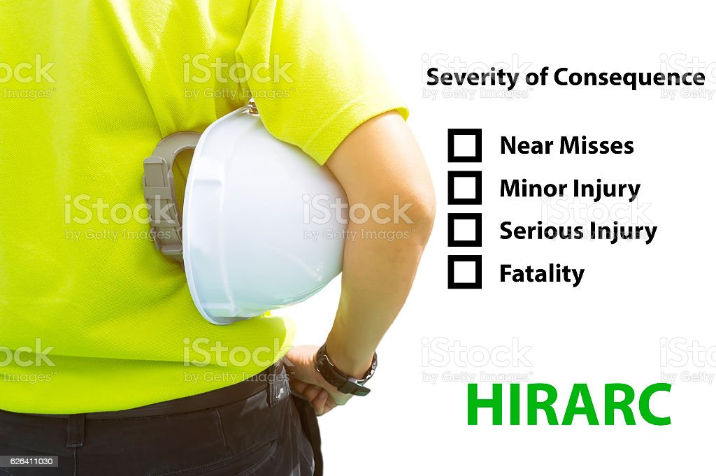 Hazard Identification and Risk Assessment concept (Safety work place) stock photo