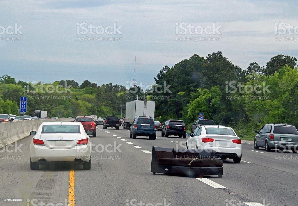 Hazard on the Interstate stock photo