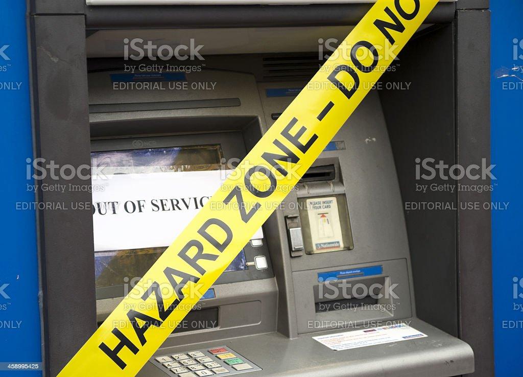 Hazard zone cash machine stock photo