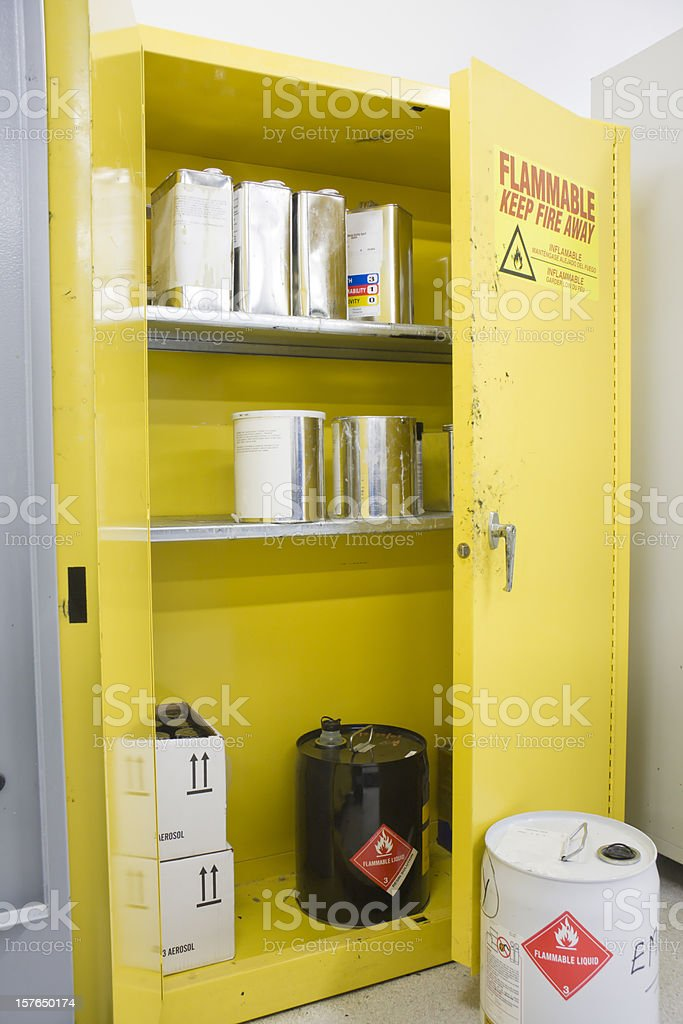 Hazardous Chemicals storage Locker with various Containers Inside stock photo