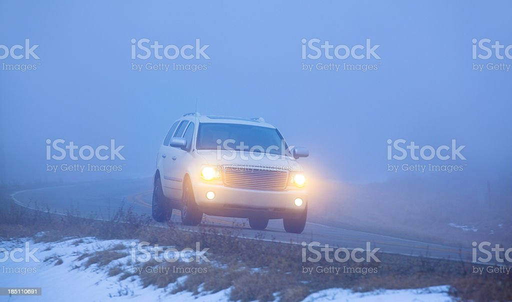Hazardous Driving In Dense Fog stock photo