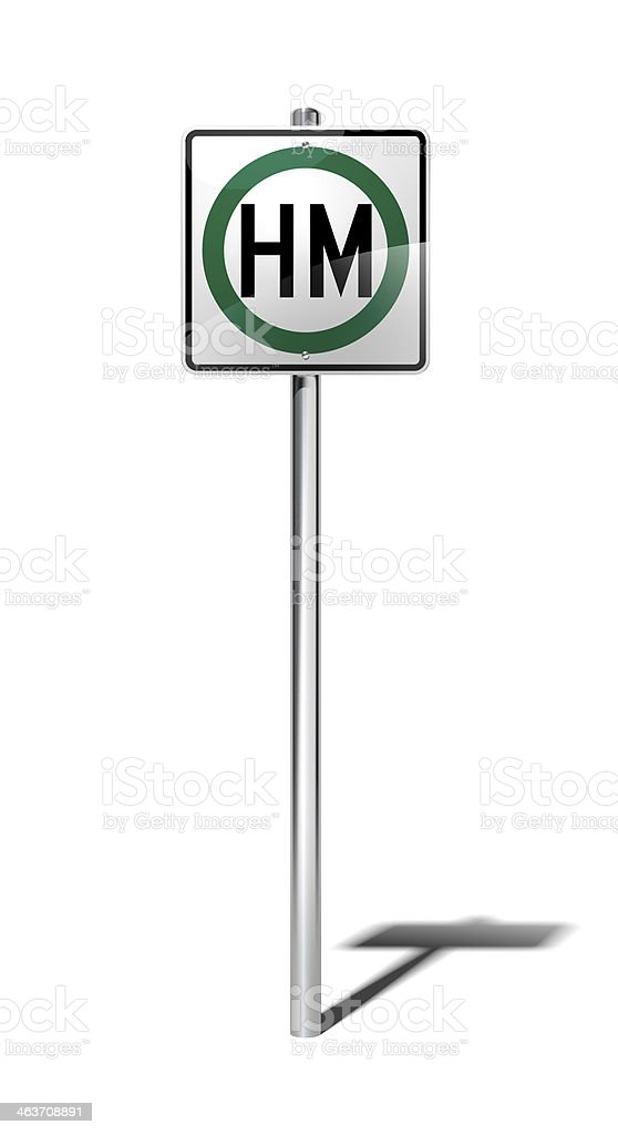 Hazardous material route sign (USA) with clipping path royalty-free stock photo