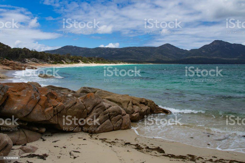 Hazards Beach, Freycinet National Park, Coles Bay, Tasmania, Australia stock photo