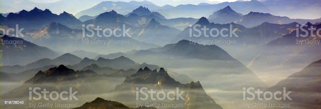 Haze over the cascades in Washington, USA stock photo