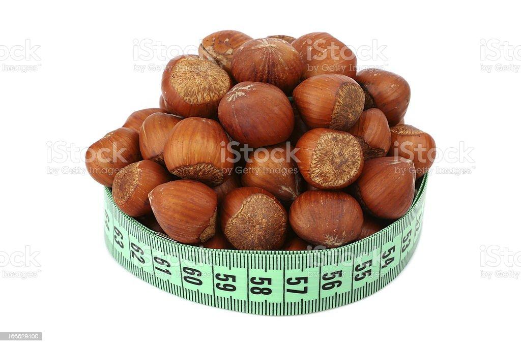 hazelnut and meter royalty-free stock photo