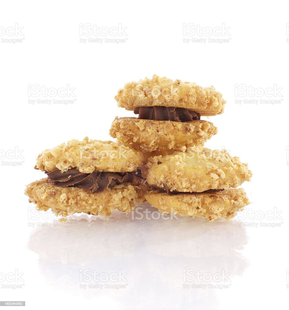 Hazelnut biscuits with chocolate filling royalty-free stock photo