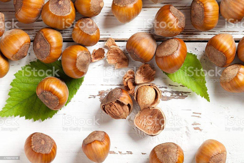 Hazelnut close up on white table stock photo