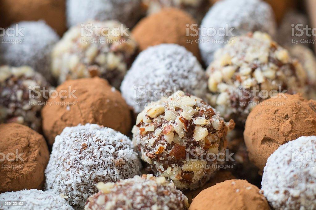 Hazelnut, Cocoa & Coconut Balls stock photo