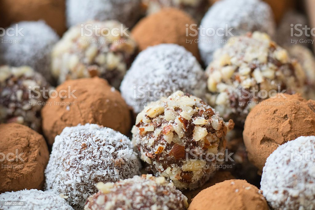 Hazelnut, Cocoa & Coconut Balls stock photo