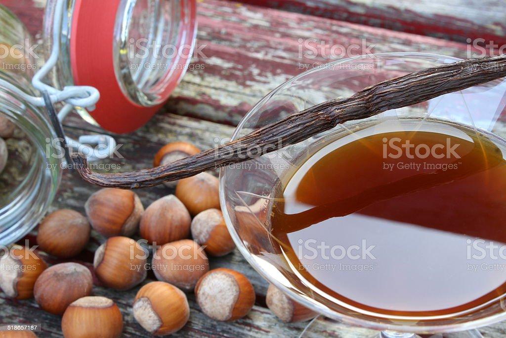 hazelnut vanilla liqueur stock photo
