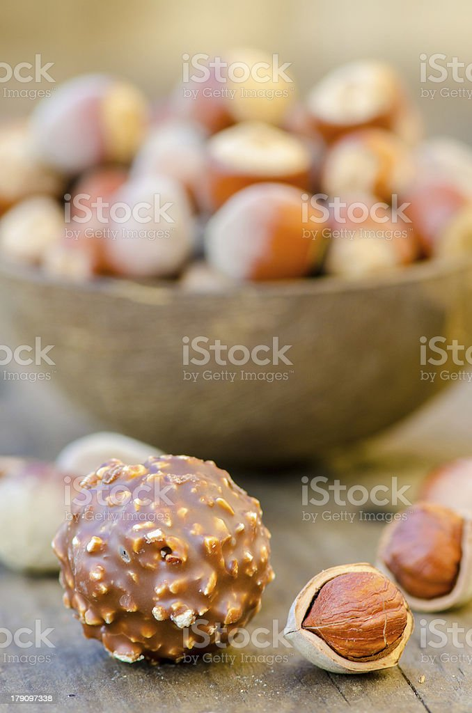 hazelnuts and chocolate royalty-free stock photo