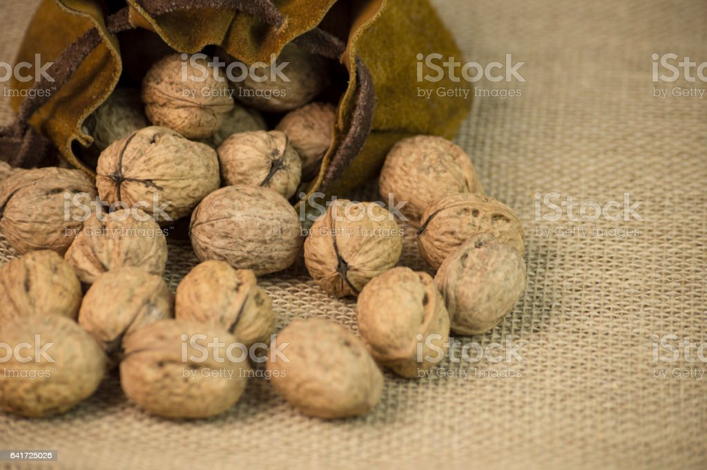 Hazelnuts and pouch stock photo