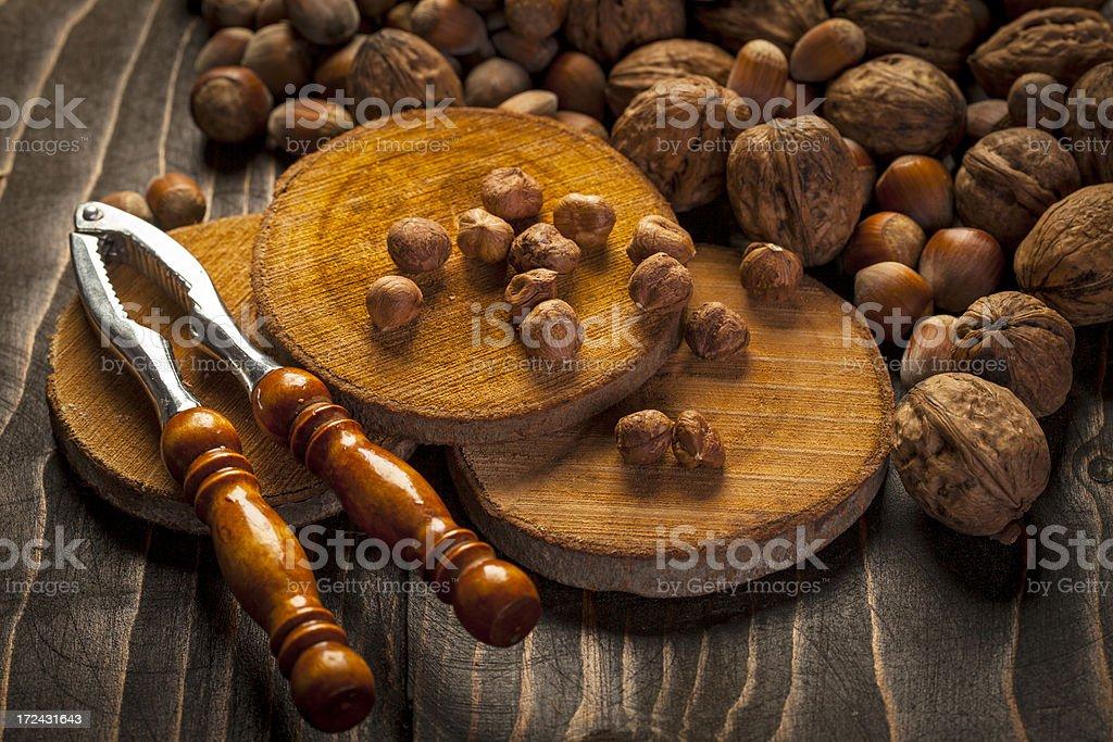 Hazelnuts and walnuts royalty-free stock photo