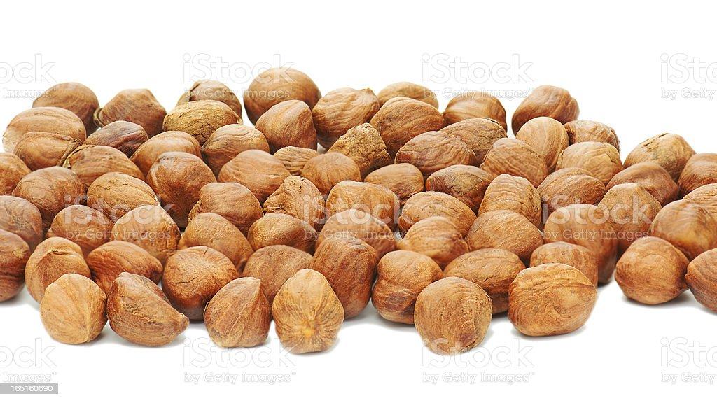 Hazelnuts background isolated on white. royalty-free stock photo