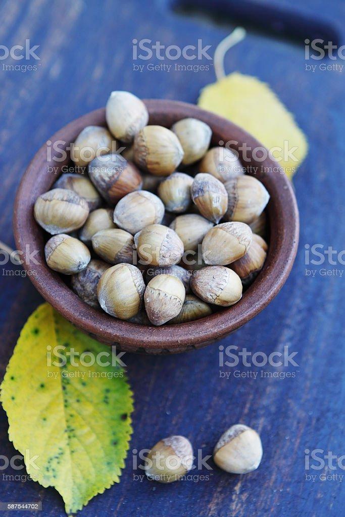 Hazelnuts close-up stock photo