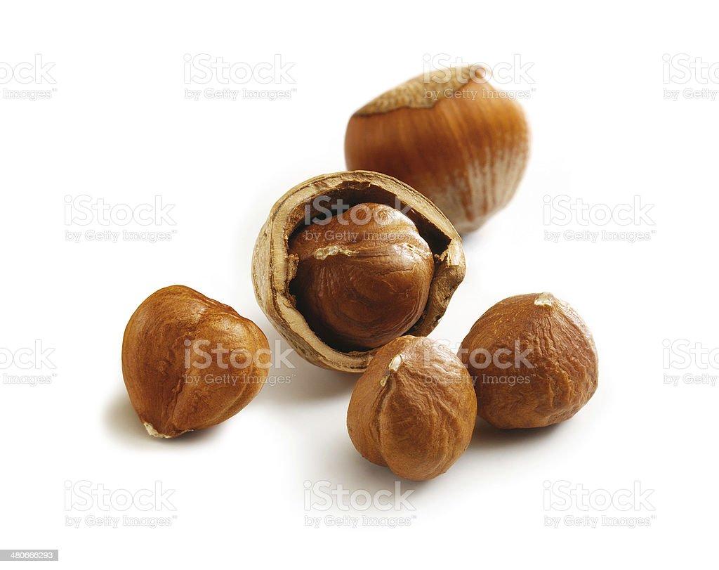 Hazelnuts cracked stock photo