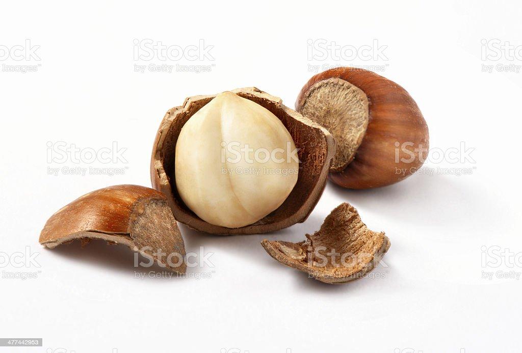 Hazelnuts, filbert on white royalty-free stock photo
