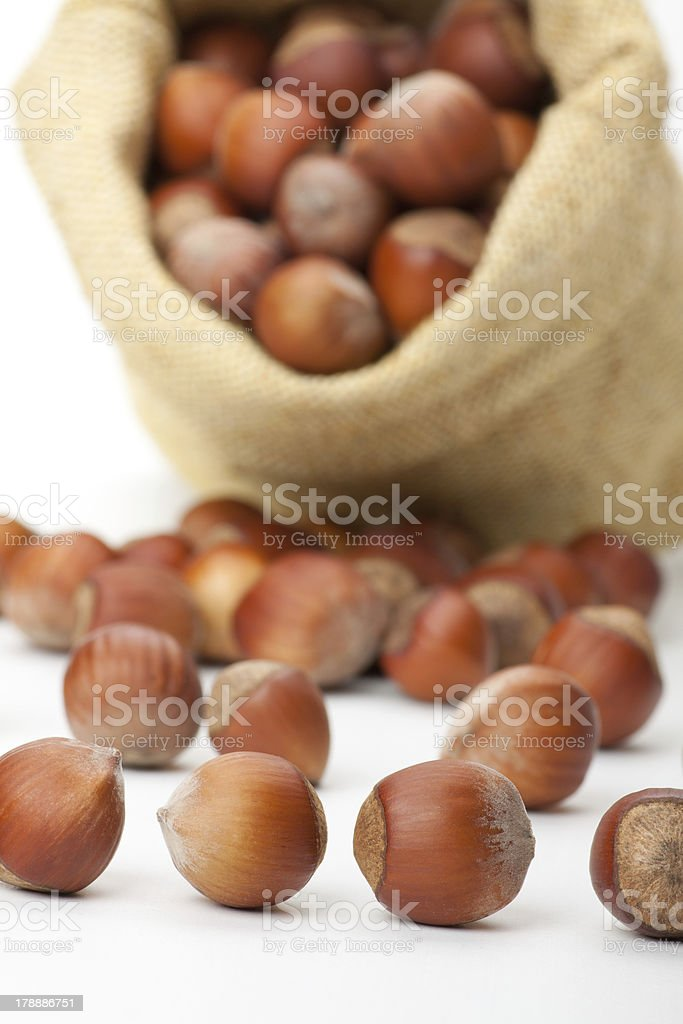 hazelnuts in a burlap bag on white background royalty-free stock photo