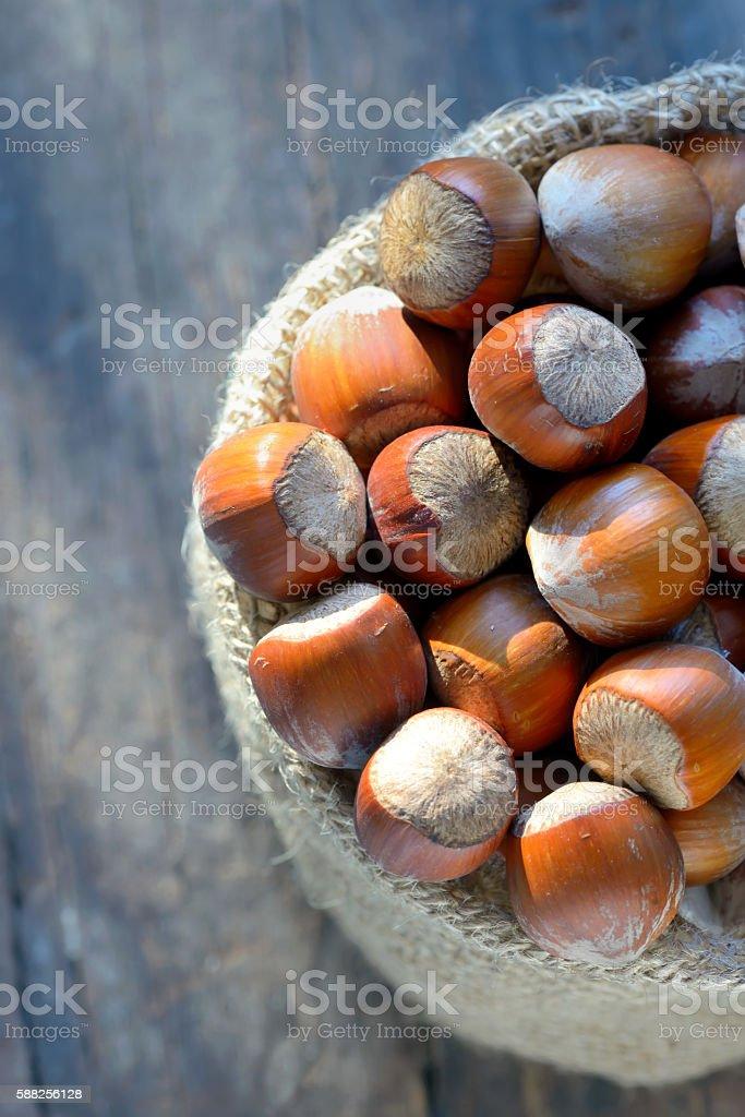 hazelnuts in a burlap bag stock photo