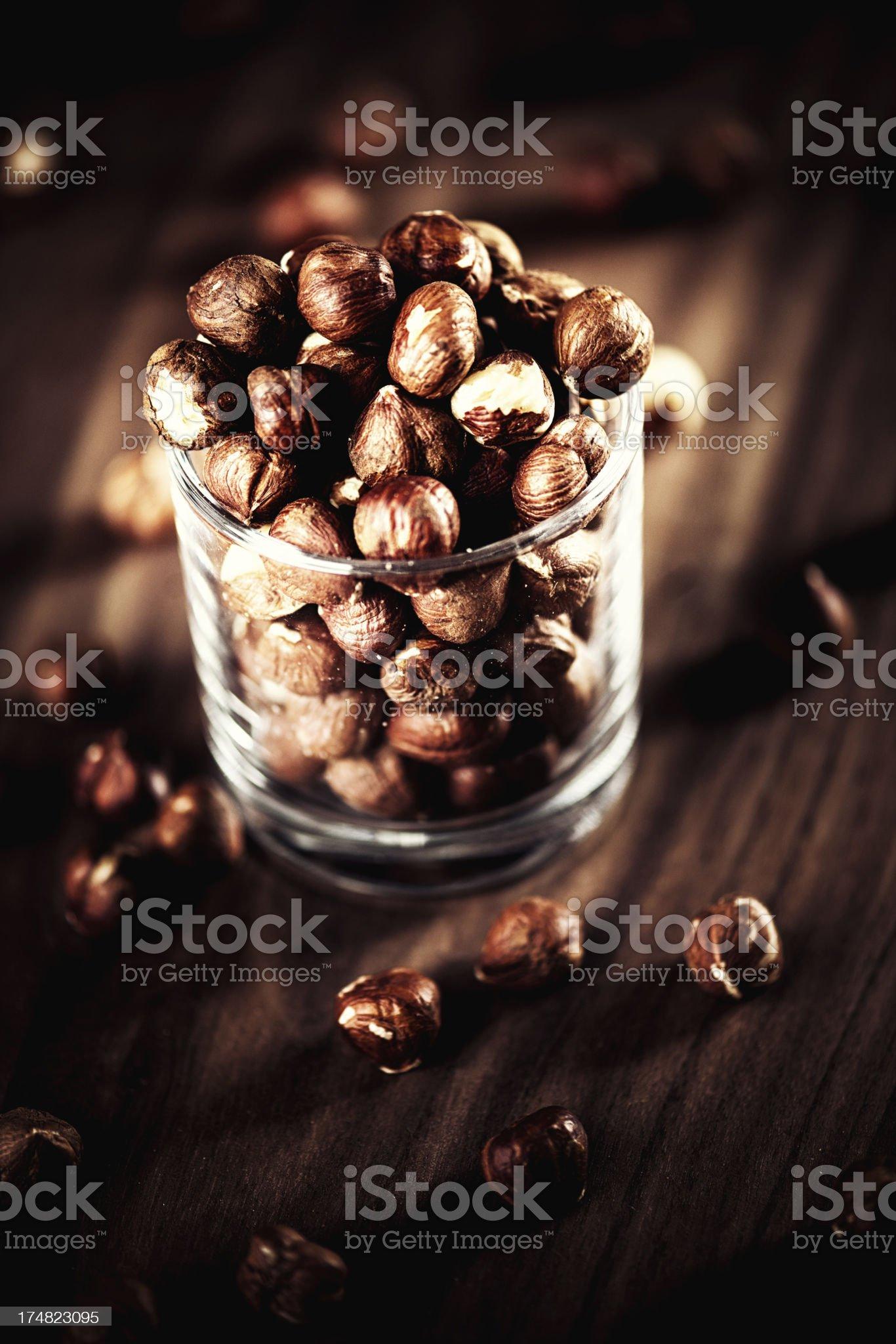 Hazelnuts in a glas jar royalty-free stock photo