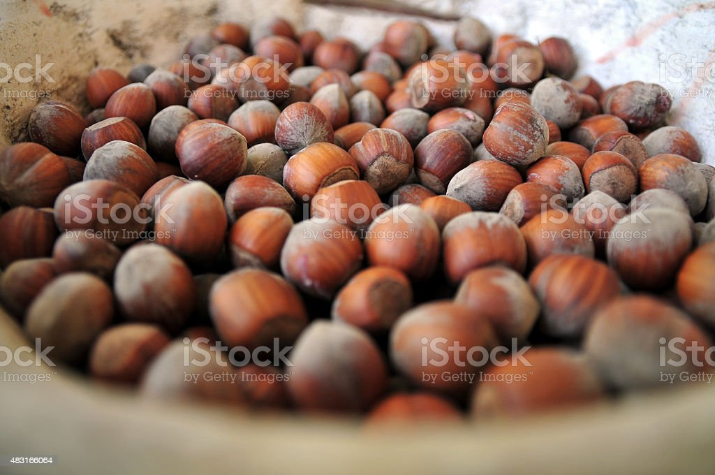 Hazelnuts in rustic jar stock photo