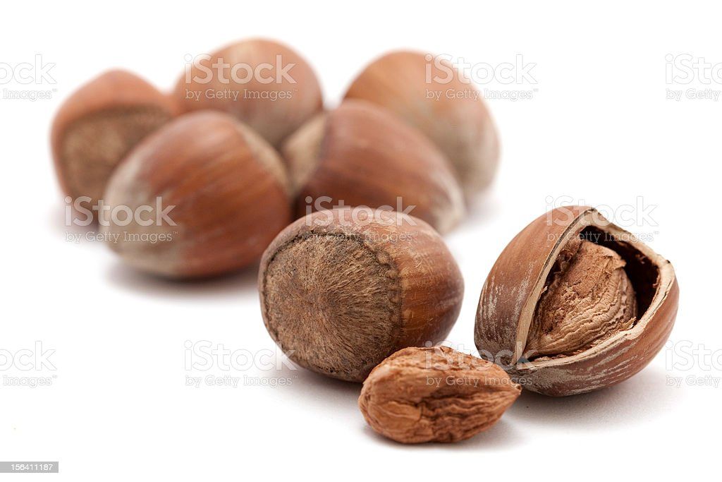 hazelnuts isolated on white royalty-free stock photo