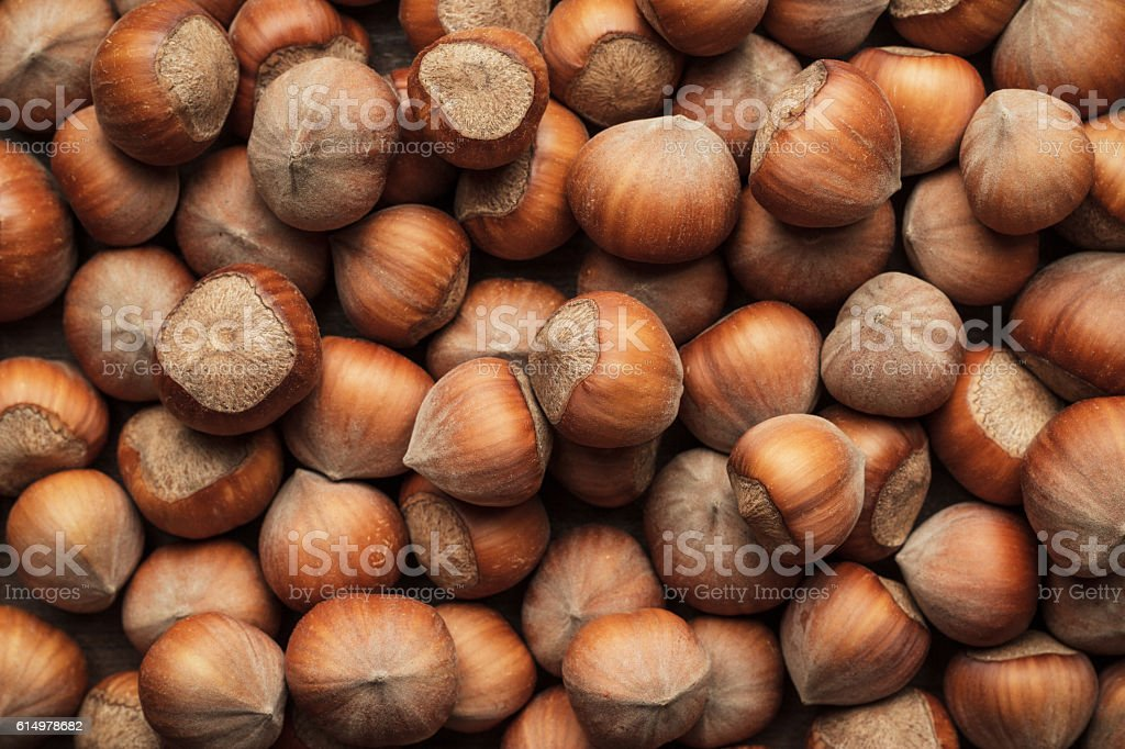 hazelnuts on the brown wooden table stock photo