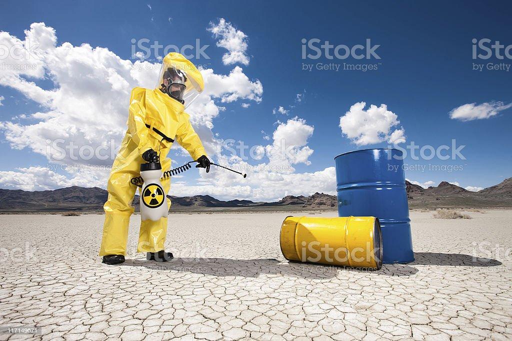 Hazmat Cleanup of Oil Barrels stock photo