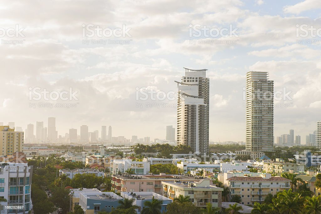 Hazy Aerial Sunset Over South Beach Miami royalty-free stock photo