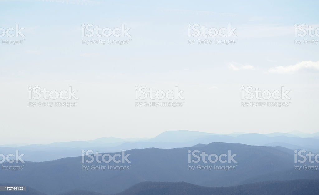 Hazy Blue Mountains Fading into the Distance stock photo