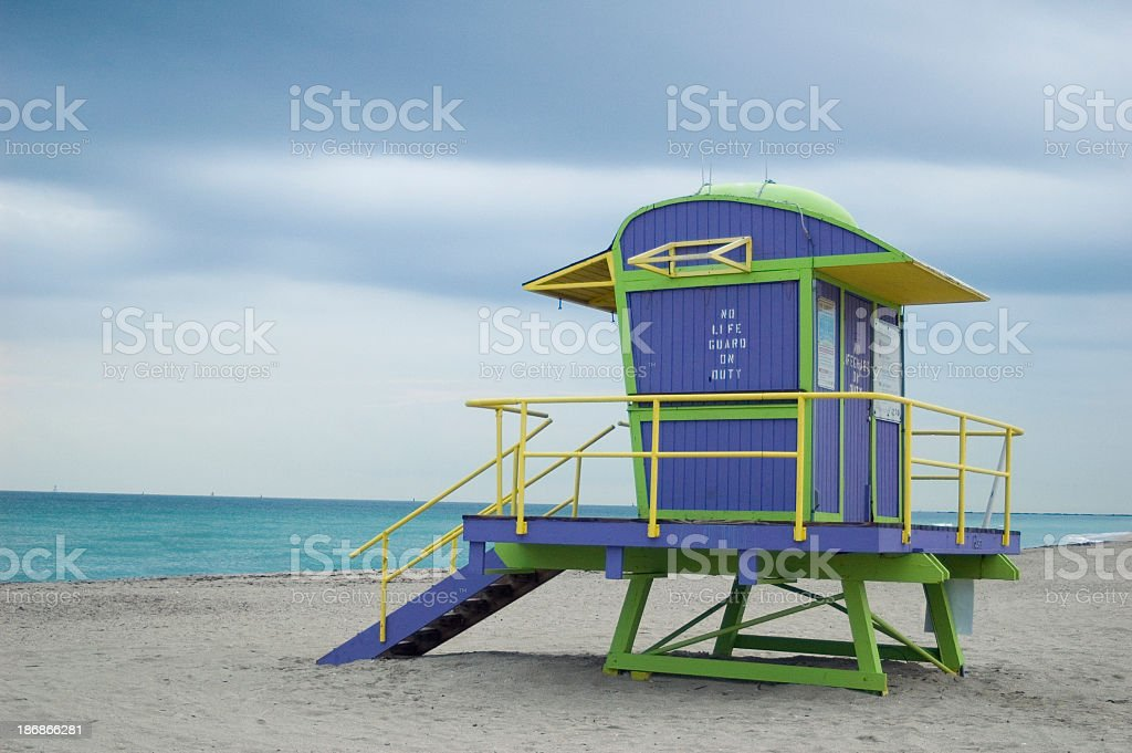 Hazy Day Miami Lifegaurd Stand royalty-free stock photo