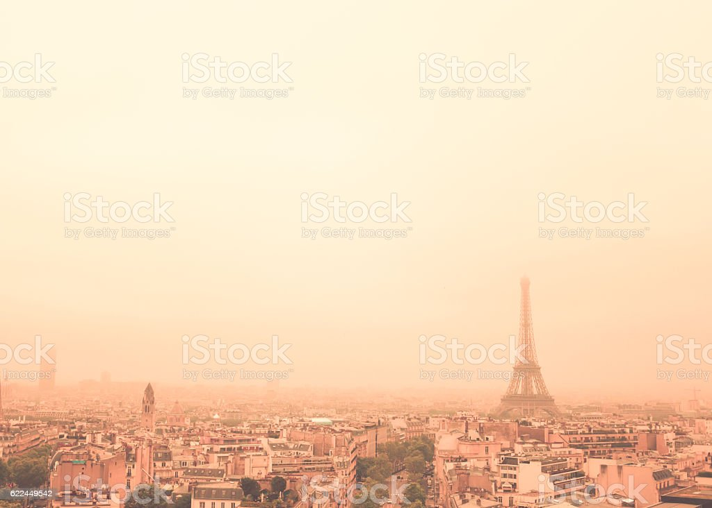 Hazy Eiffel Tower stock photo