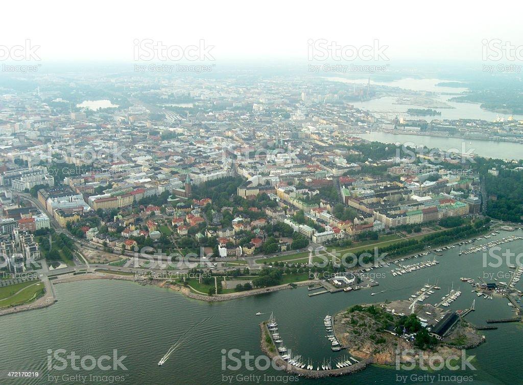 Hazy Helsinki from the air stock photo