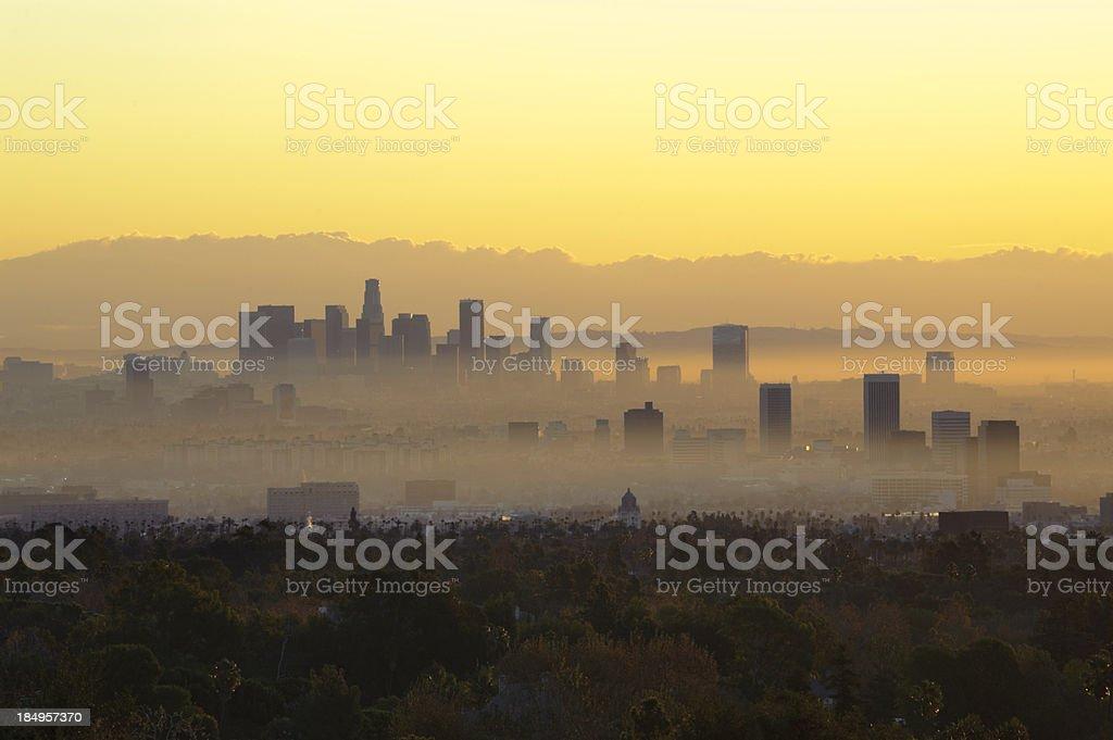 hazy los angles morning stock photo