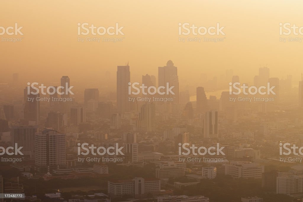 Hazy morning atmosphere in Bangkok stock photo
