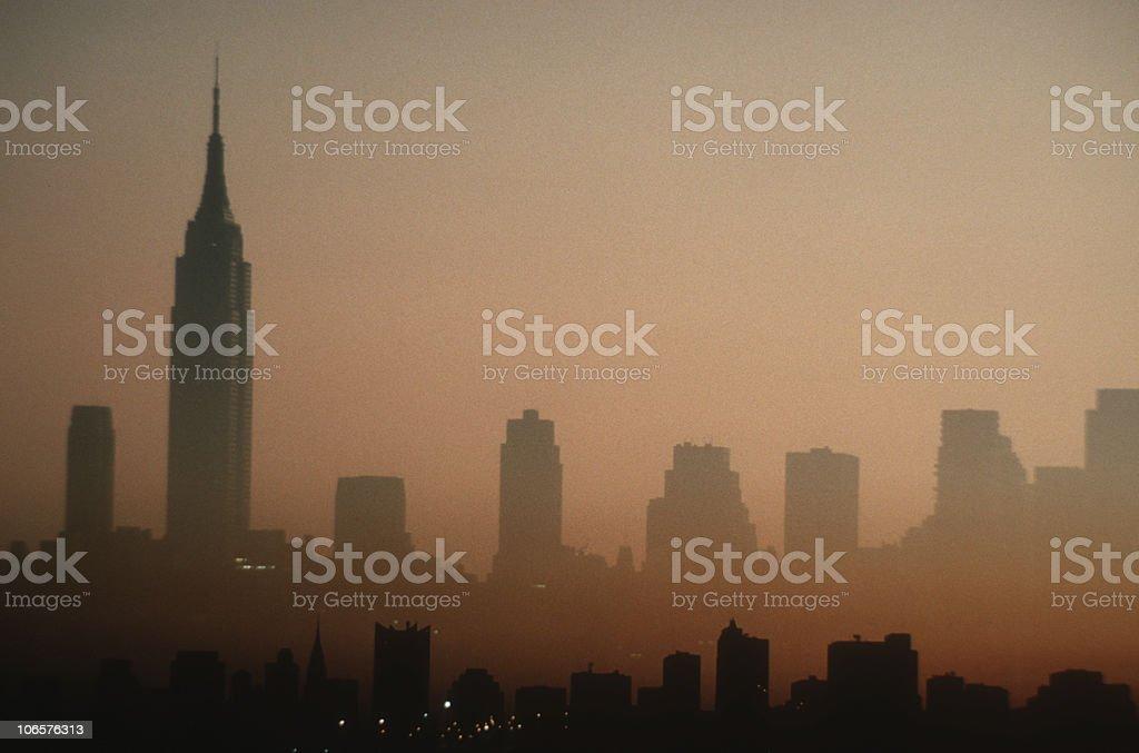 Hazy New York City skyline at dawn stock photo
