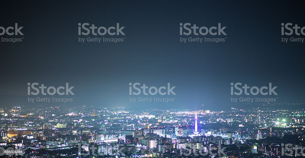 Hazy Nighttime Kyoto Citscape stock photo