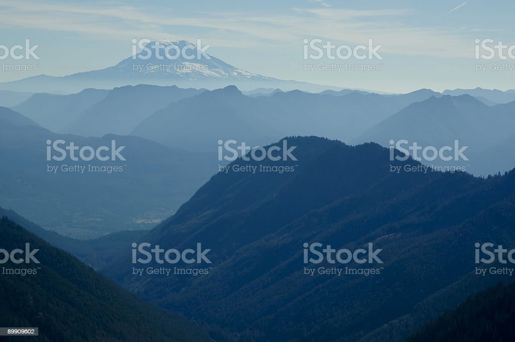 Hazy ridges with Mt. Adams royalty-free stock photo