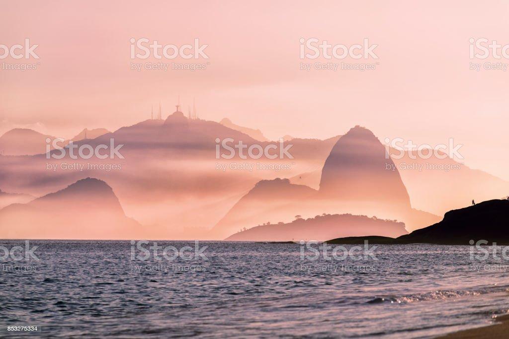 Hazy Rio de Janeiro winter beach stock photo