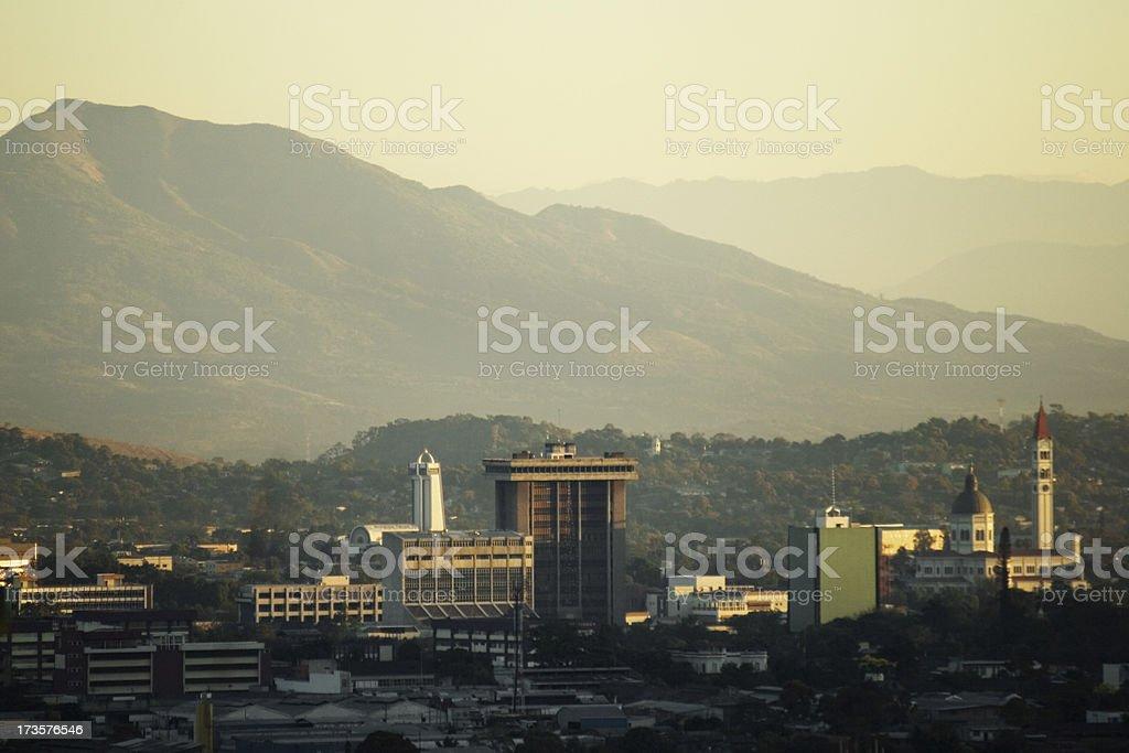 Hazy sky line view of San Salvador city stock photo