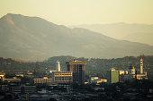 Hazy sky line view of San Salvador city