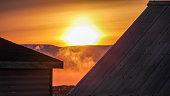 Hazy Sun between two terrace