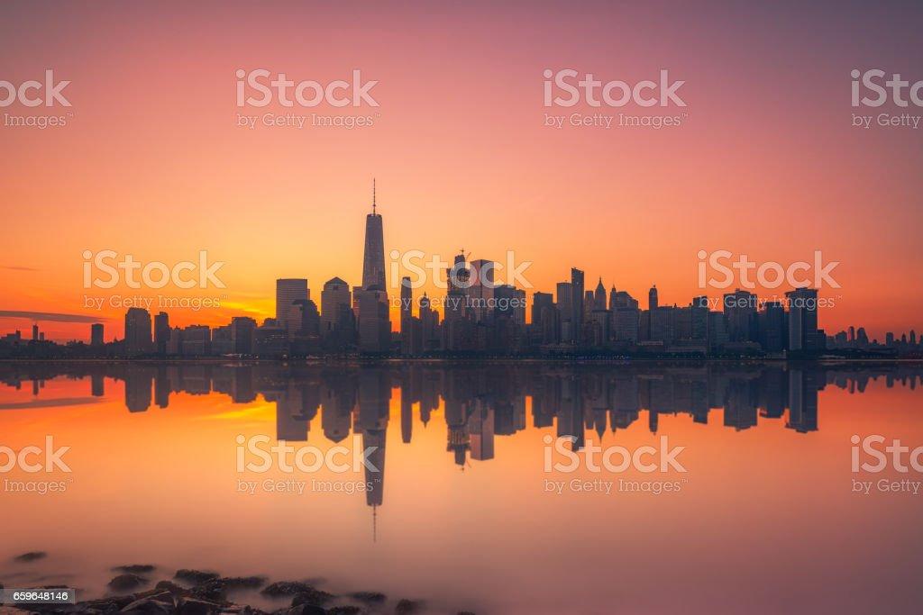 Hazy sunrise over Manhattan stock photo