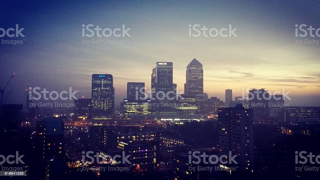 Hazy sunset over Canary Wharf stock photo